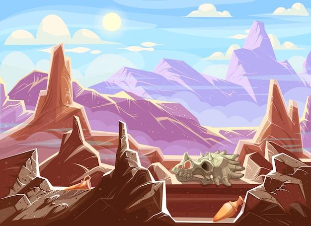 考古学的化石と山の風景 無料ベクター