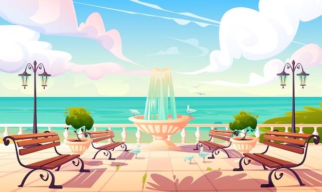 Летняя набережная с фонтаном и скамейками Бесплатные векторы