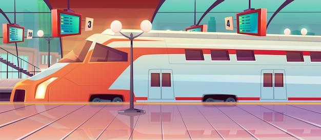 高速列車とプラットフォームのある鉄道駅 無料ベクター