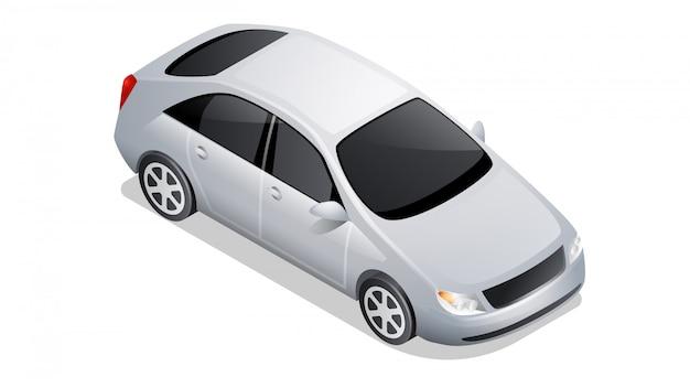 白で隔離等尺性の車のアイコン 無料ベクター