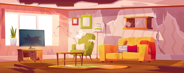 壊れた家具と古い汚れたリビングルーム 無料ベクター