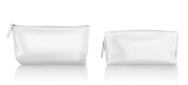 Белая косметичка с молнией для макияжа Бесплатные векторы