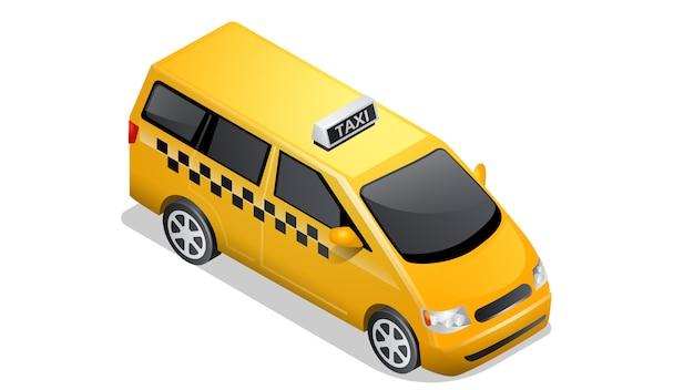 白で隔離等尺性車アイコン市松模様のタクシー 無料ベクター