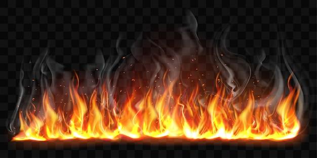 Векторные реалистичные горящий огонь пламя с дымом Бесплатные векторы
