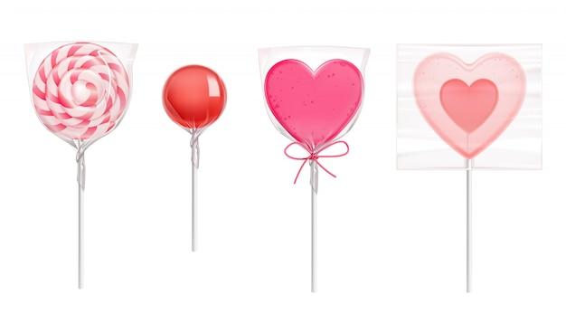 バレンタインデーのハート型のロリポップキャンディー 無料ベクター