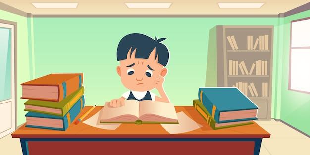 勉強のストレスを抱えて疲れている悲しい学生 無料ベクター