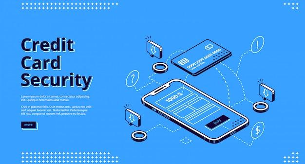 クレジットカードセキュリティのウェブサイトデザインの電話とロボット 無料ベクター