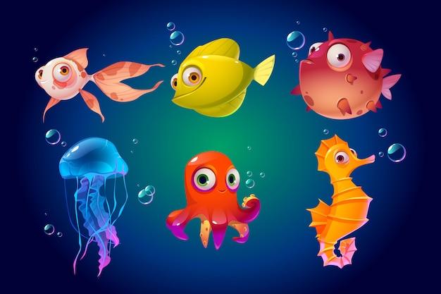 Симпатичные морские животные, рыба, осьминог, медуза, пуховик Бесплатные векторы