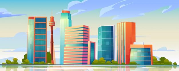都市の建物のスカイラインのパノラマイラスト 無料ベクター
