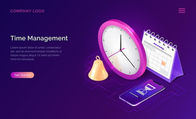 Тайм-менеджмент изометрической бизнес-концепция Бесплатные векторы