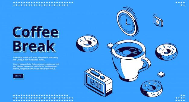 Кофе-брейк изометрическая посадочная страница, завтрак Бесплатные векторы