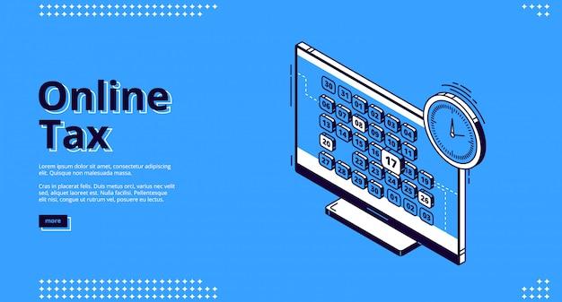 Онлайн налог, изометрическая посадка, веб дизайн, налогообложение Бесплатные векторы