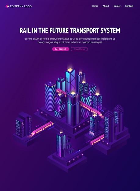 Железнодорожный поезд в будущей городской транспортной системе Бесплатные векторы