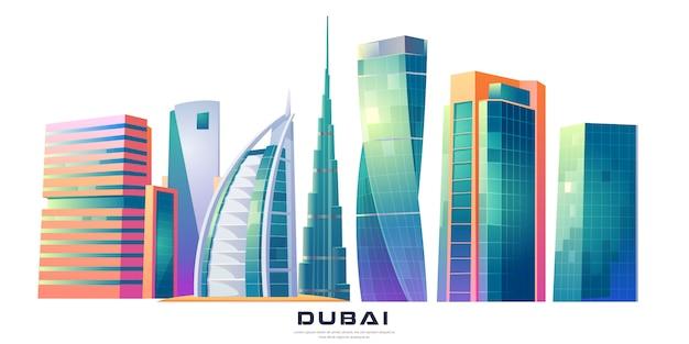 Дубай, оаэ горизонт с всемирно известными зданиями Бесплатные векторы