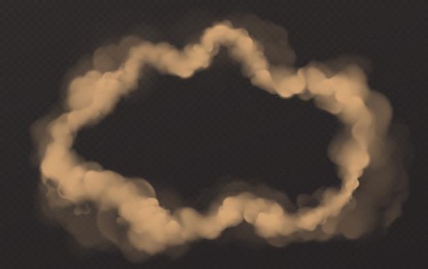 煙の円、丸いスモッグの雲、タバコの蒸気 無料ベクター