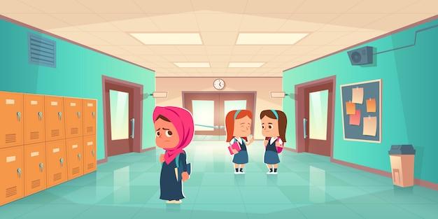 学校の廊下で悲しい孤独なイスラム教徒の少女 無料ベクター