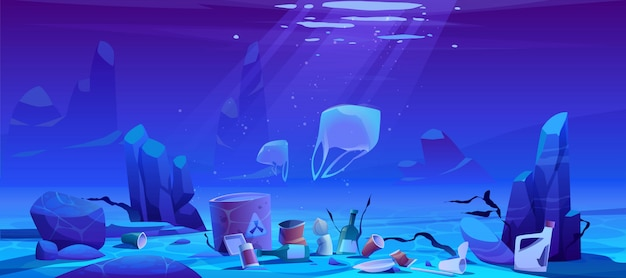 プラスチックゴミ、水中ゴミによる海汚染 無料ベクター
