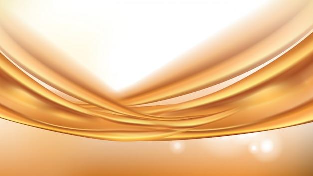 オレンジ色の黄金の流れる液体の抽象的な背景 無料ベクター