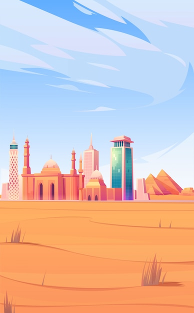エジプトのランドマーク、カイロ市のスカイラインのモバイル画面 無料ベクター