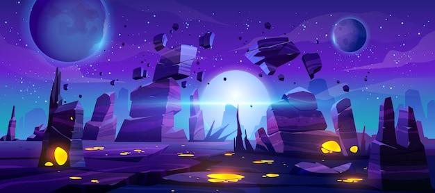 Космический игровой фон, неоновый ночной инопланетный пейзаж Бесплатные векторы