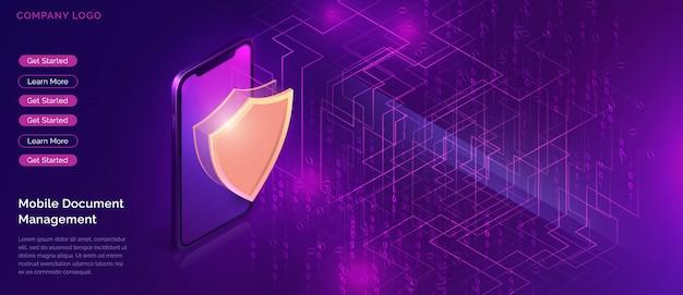 データ保護、オンラインセキュリティ保証 無料ベクター