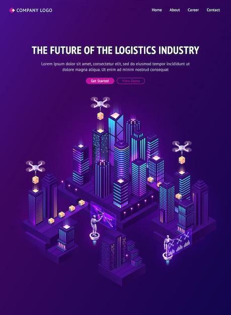 Будущее логистической отрасли с доставкой беспилотников Бесплатные векторы