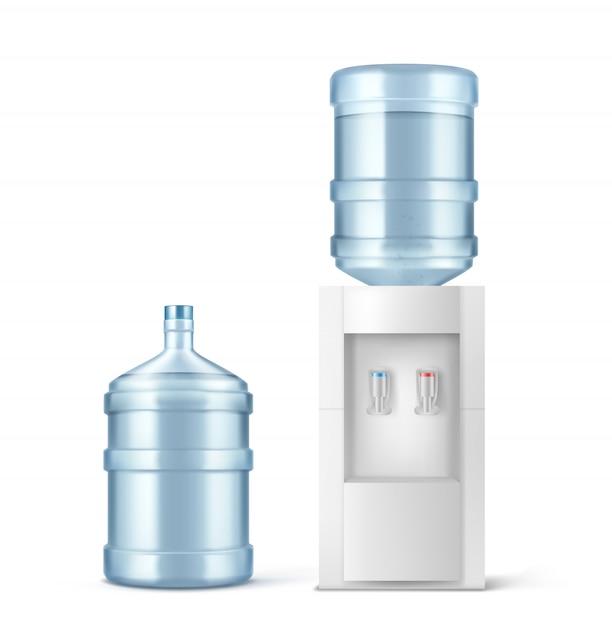 ウォータークーラーとオフィスと家庭用の大きなボトル 無料ベクター