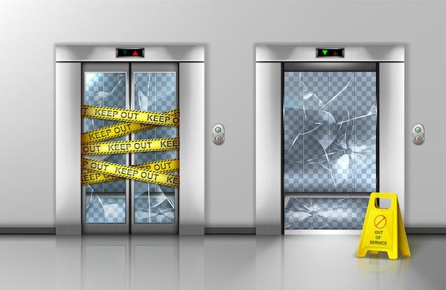 壊れたガラスエレベーターがメンテナンスのため閉鎖されました 無料ベクター