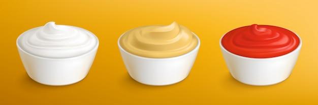 Майонез, горчичный соус и кетчуп в мисках Бесплатные векторы