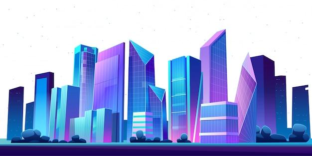 都市の建物のスカイラインのパノラマの夜 無料ベクター