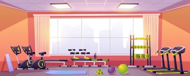 Спортивное и фитнес оборудование в тренажерном зале Бесплатные векторы