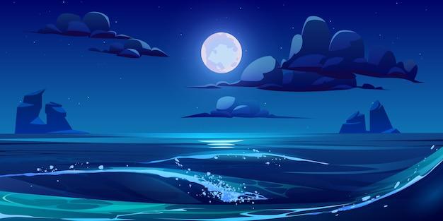Ночной морской пейзаж с луной, звездами и облаками Бесплатные векторы