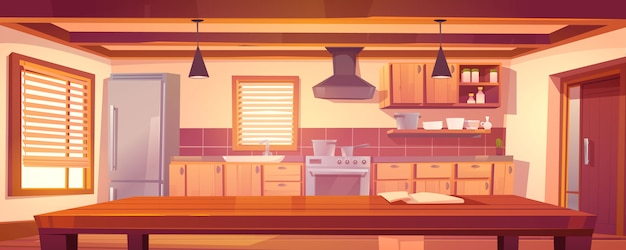 木製の家具と素朴なキッチンの空のインテリア 無料ベクター