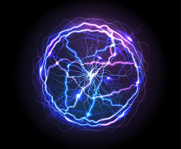 Реалистичный электрический шар или абстрактная плазменная сфера Бесплатные векторы