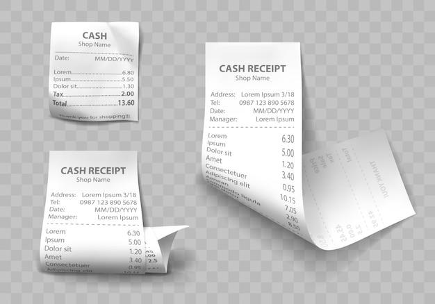 Реалистичный магазин кассовых чеков, бумажных счетов оплаты Бесплатные векторы