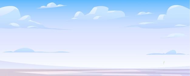 Зимний пейзаж с замерзшим озером и облаками Бесплатные векторы