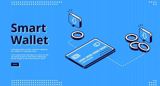 スマートウォレットのランディングページ、電子金融 無料ベクター