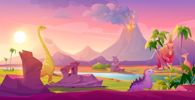 Динозавры у извергающегося вулкана тропический пейзаж Бесплатные векторы