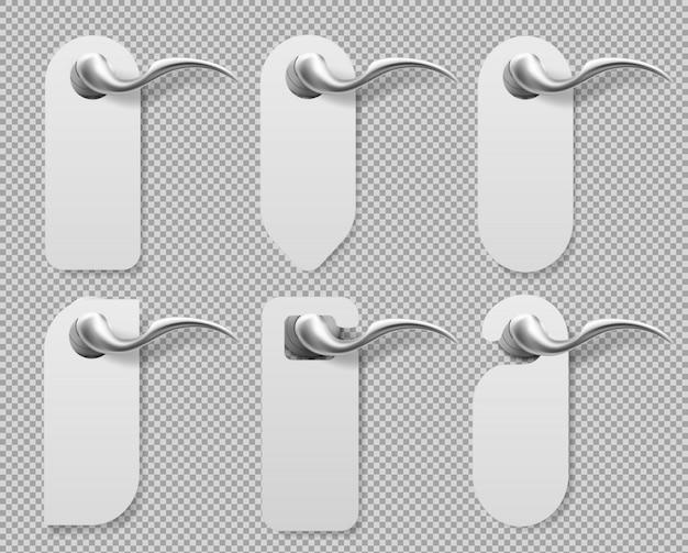 金属製ハンドルのドアハンガーはモックアップセットに署名します。 無料ベクター
