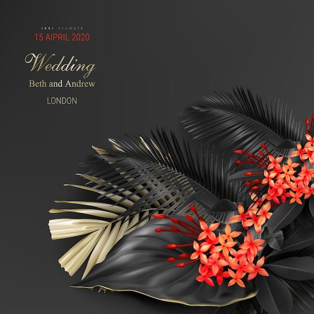 熱帯の黒と金の葉で結婚式の招待カードテンプレート 無料ベクター