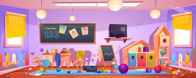 Грязный интерьер детской комнаты в детском саду Бесплатные векторы