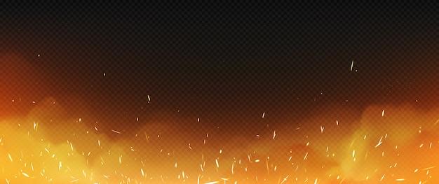 Реалистичный огонь с дымом и сварочными искрами, пламя Бесплатные векторы