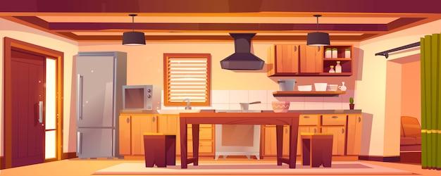 Вектор кухонный интерьер в деревенском доме Бесплатные векторы