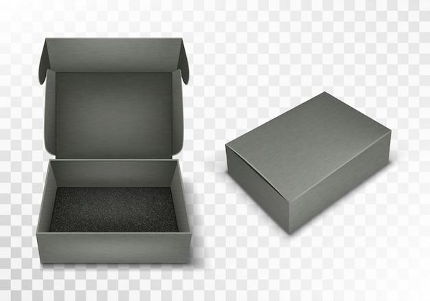 Серая пустая картонная коробка с откидной крышкой, реалистичная Бесплатные векторы