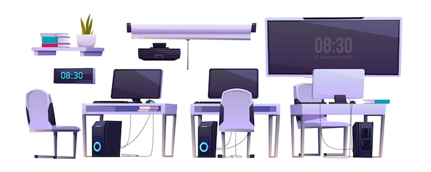 Вектор мебель в офис или компьютерный класс Бесплатные векторы