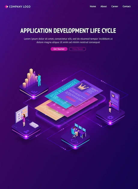 アプリケーション開発ライフサイクルバナー 無料ベクター