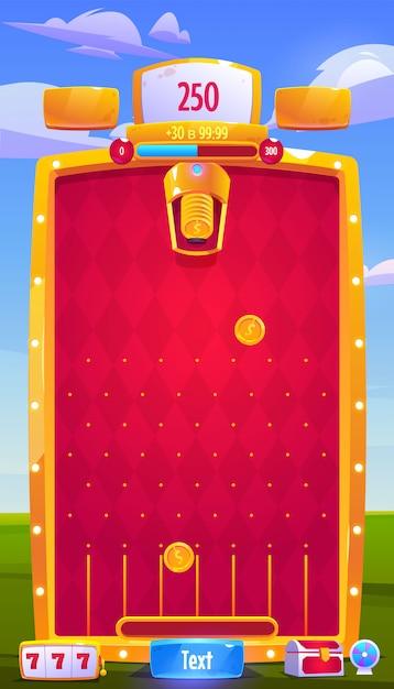 Векторный интерфейс мобильной аркадной игры с монетами Бесплатные векторы