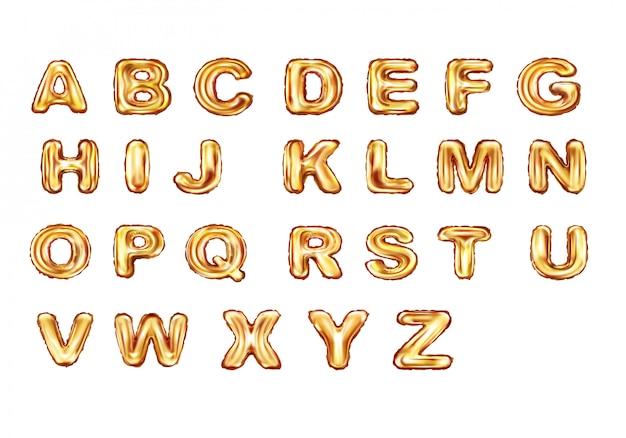 Алфавит золотые шары реалистичные вектор Бесплатные векторы