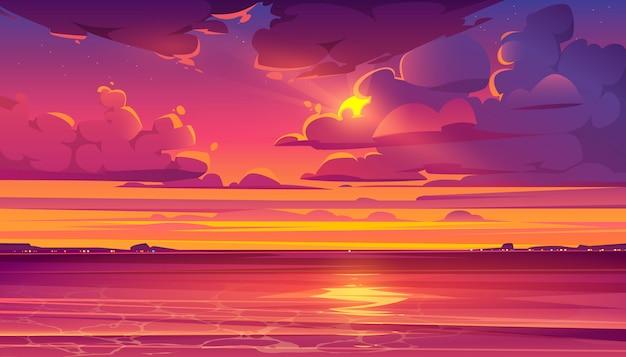 Тропический пейзаж с океаном и закатом Бесплатные векторы