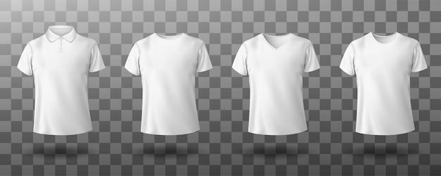 男性の白いポロシャツの現実的なモックアップ 無料ベクター